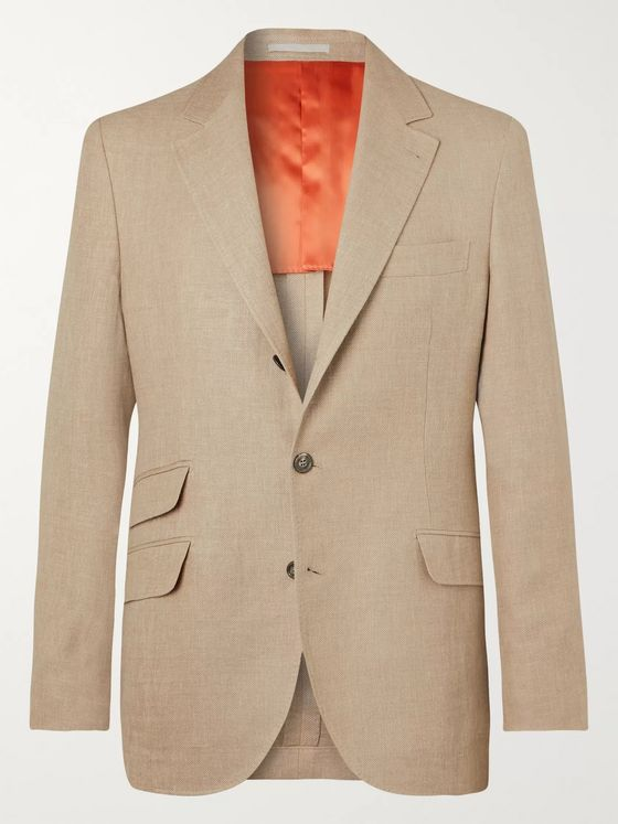 Brunello Cucinelli Beige Slim-Fit Unstructured Linen, Wool and Silk-Blend Hopsack Blazer