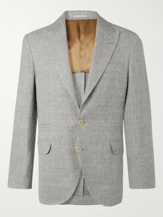 Brunello Cucinelli Grey Slim-Fit Unstructured Mélange Linen, Wool and Silk-Blend Suit Jacket