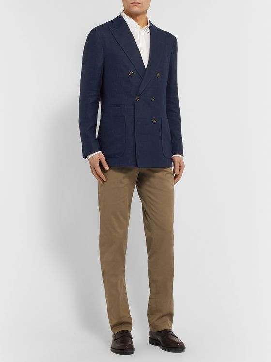 Brunello Cucinelli Navy Slim-Fit Double-Breasted Unstructured Linen, Wool and Silk-Blend Blazer