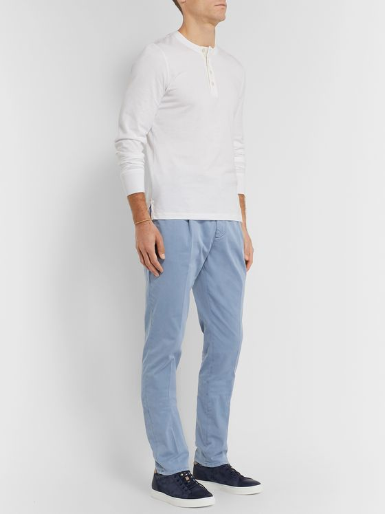 Brunello Cucinelli Tapered Stretch-Cotton Twill Drawstring Trousers