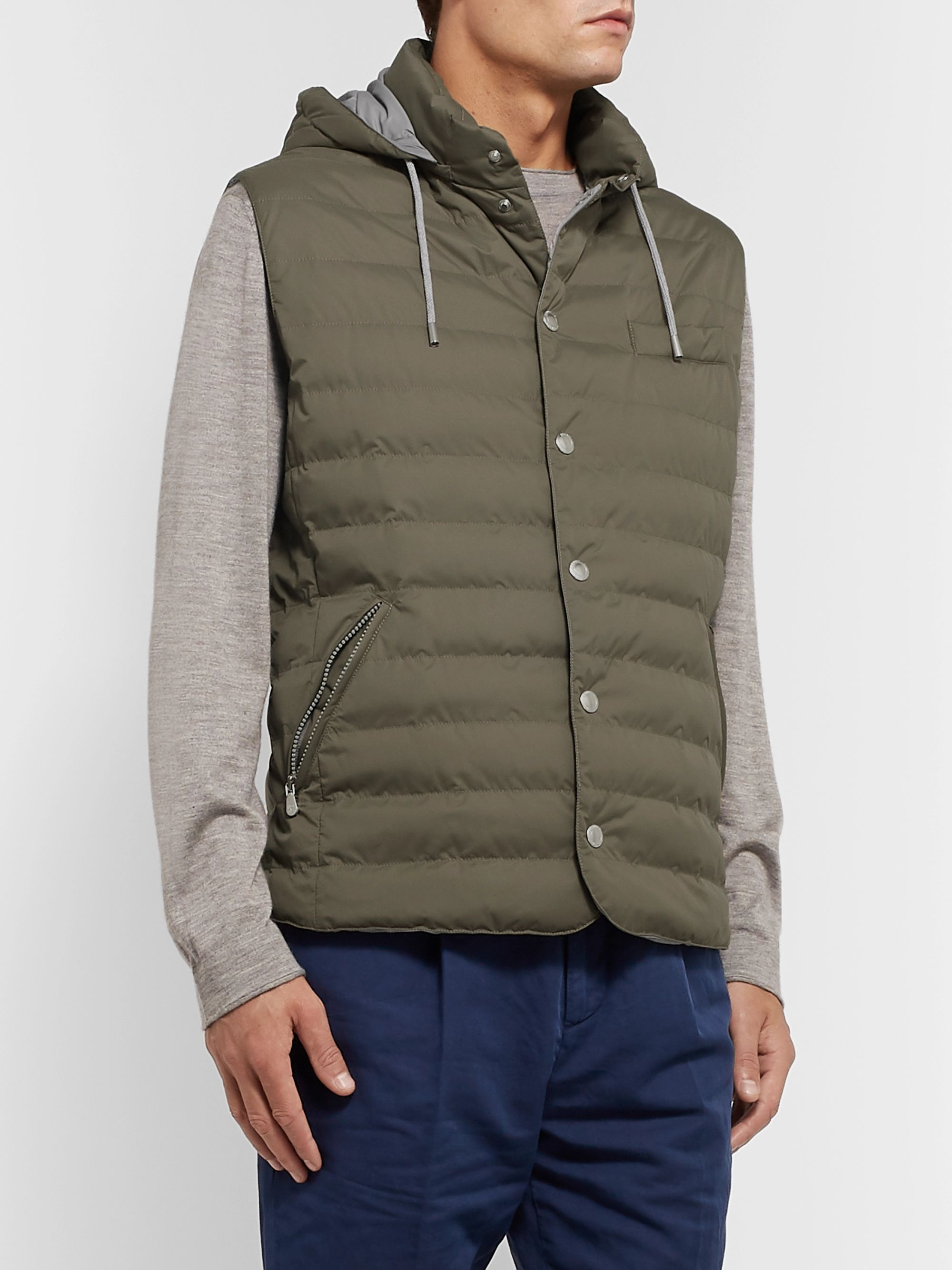 Brunello Cucinelli Quilted Nylon Hooded Down Gilet
