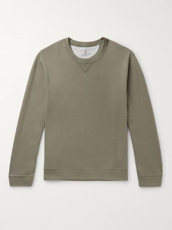 Brunello Cucinelli Loopback Cotton-Blend Jersey Sweatshirt