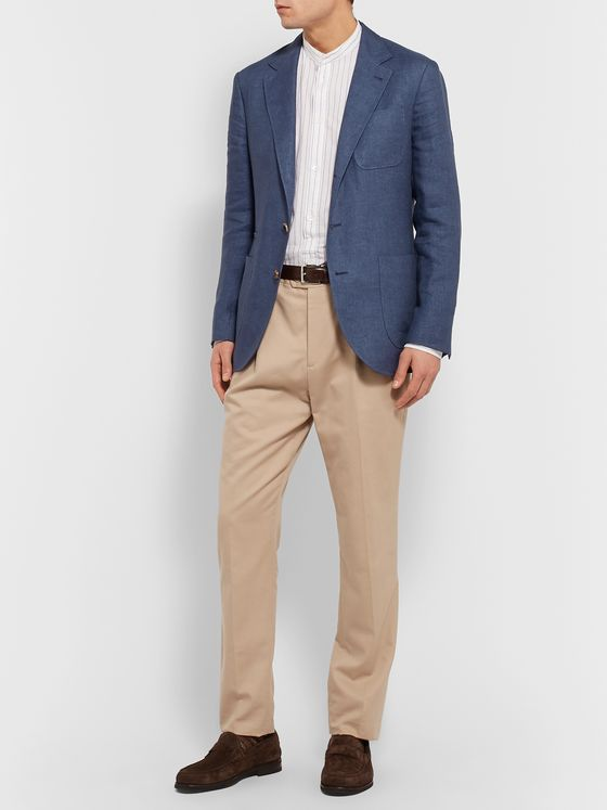 Brunello Cucinelli Blue Unstructured Linen Blazer