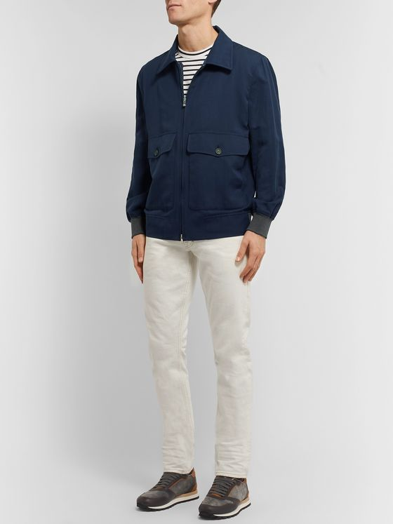 Brunello Cucinelli Linen, Silk and Cotton-Blend Bomber Jacket