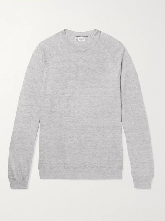 Brunello Cucinelli Mélange Linen and Cotton-Blend Sweater