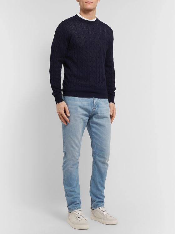 Brunello Cucinelli Cable-Knit Linen and Cotton-Blend Sweater