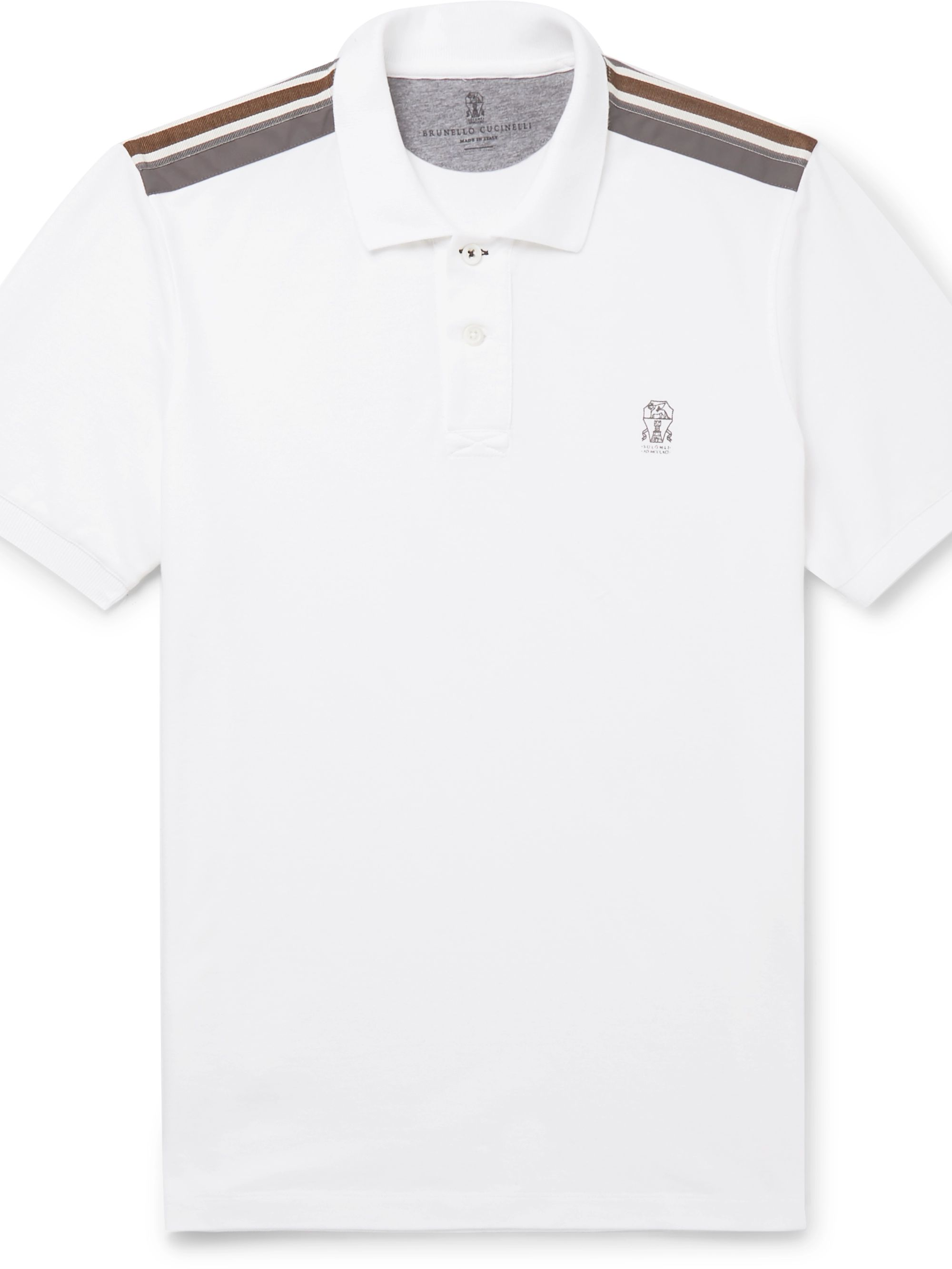 Brunello Cucinelli Webbing and Shell-Trimmed Cotton-Piqué Polo Shirt