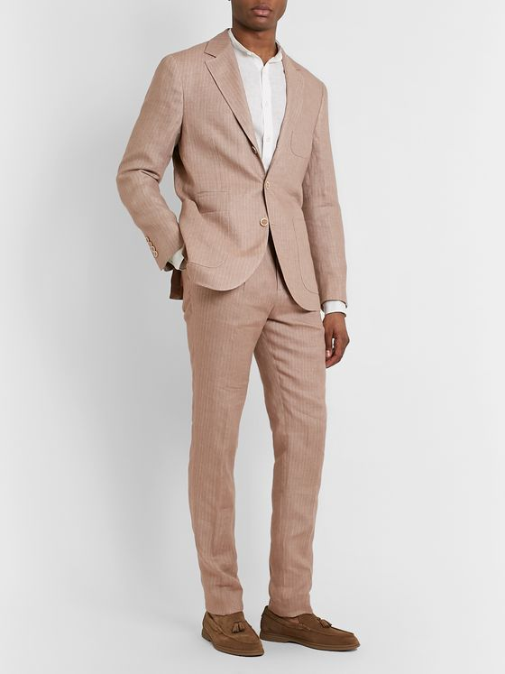 Brunello Cucinelli Pinstriped Linen Suit Trousers