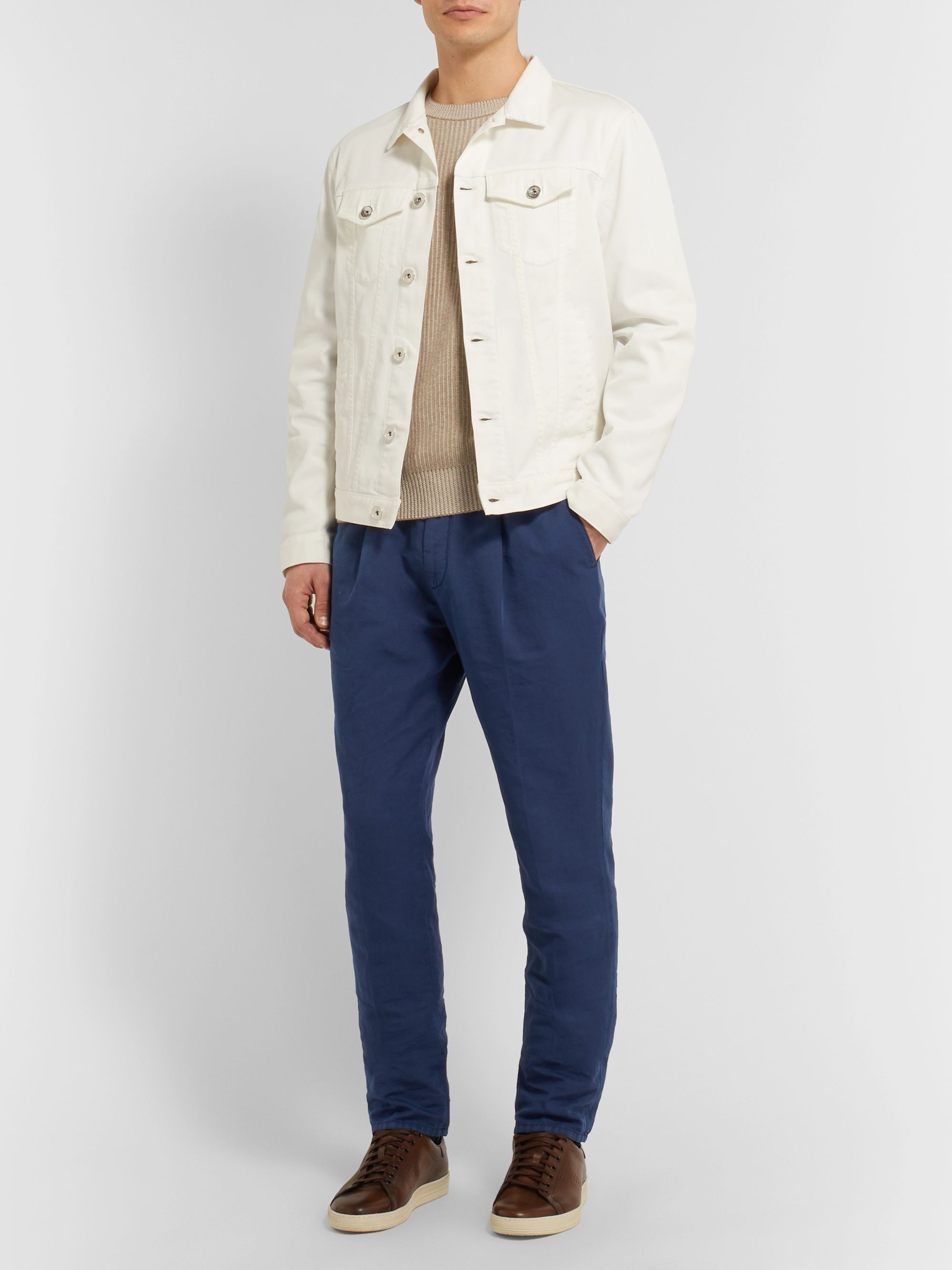 Brunello Cucinelli Slim-Fit Linen and Cotton-Blend Drawstring Trousers