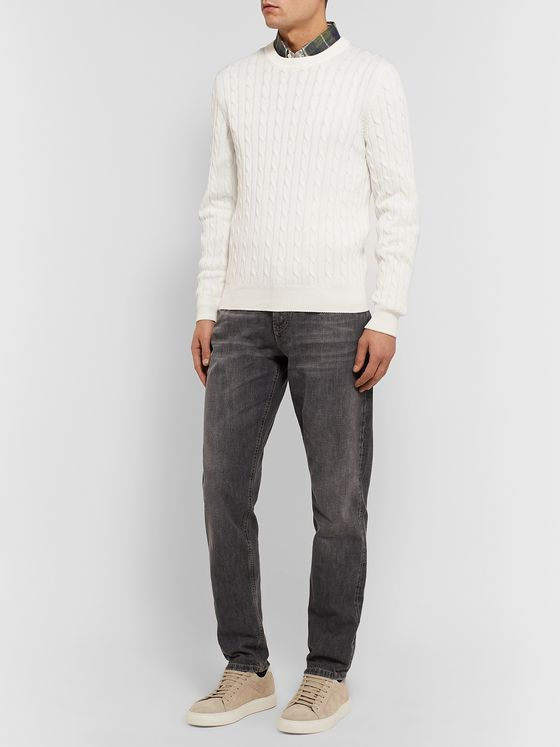 Brunello Cucinelli Slim-Fit Cable-Knit Cotton Sweater