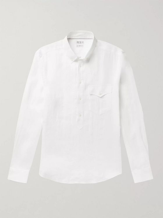 Brunello Cucinelli Button-Down Collar Linen Half-Placket Shirt