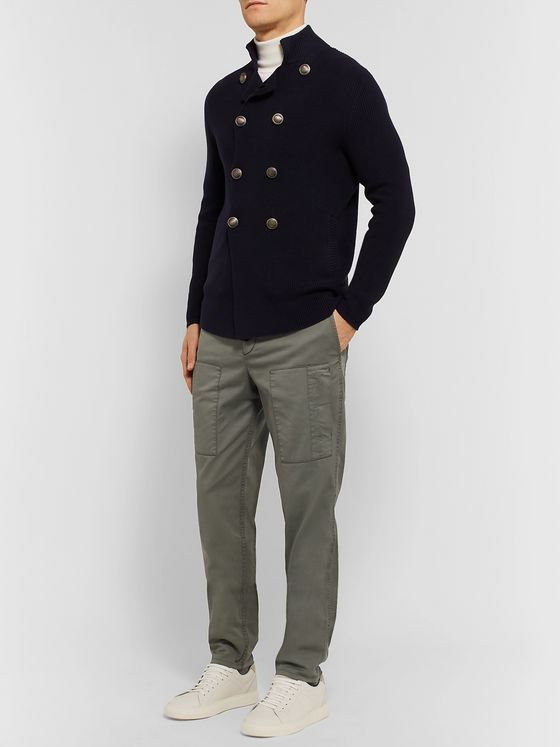 Brunello Cucinelli Navy Slim-Fit Stretch-Cotton Twill Cargo Trousers