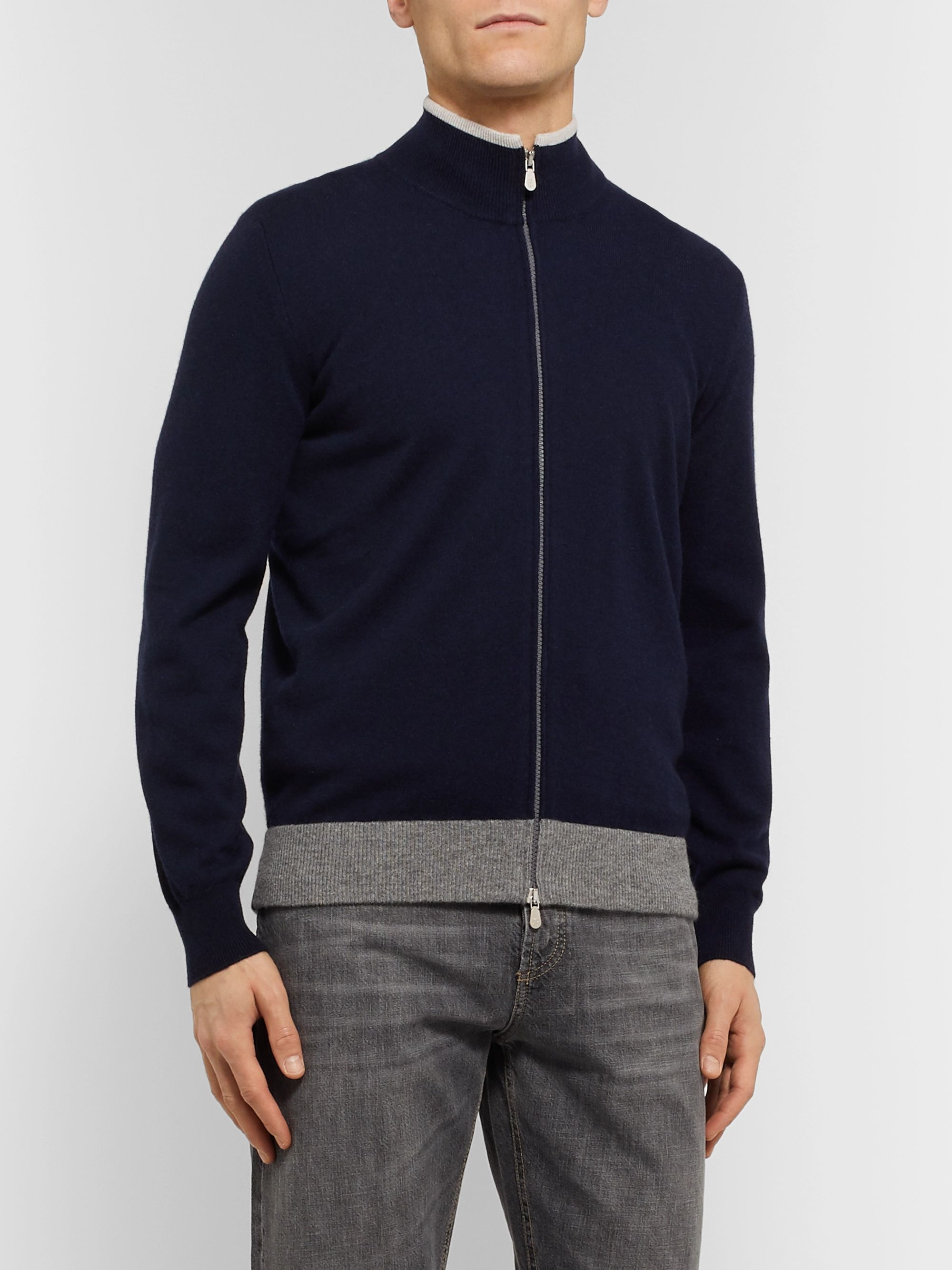 Brunello Cucinelli Contrast-Tipped Cashmere Zip-Up Sweater