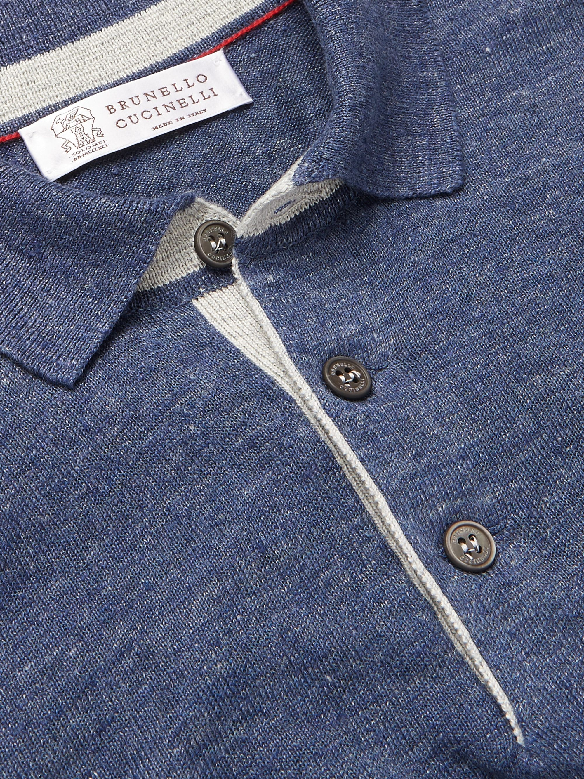 Brunello Cucinelli Slim-Fit Knitted Linen and Cotton-Blend Polo Shirt