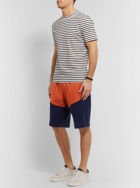 Brunello Cucinelli Colour-Block Nylon and Mélange Cotton-Blend Jersey Drawstring Shorts