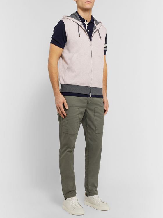 Brunello Cucinelli Slim-Fit Mélange Cotton-Blend Jersey Hooded Gilet