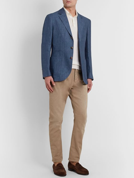 Brunello Cucinelli Unstructured Herringbone Linen Suit Jacket