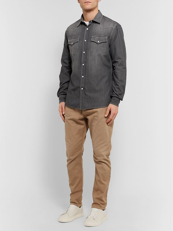 Brunello Cucinelli Washed-Denim Western Shirt