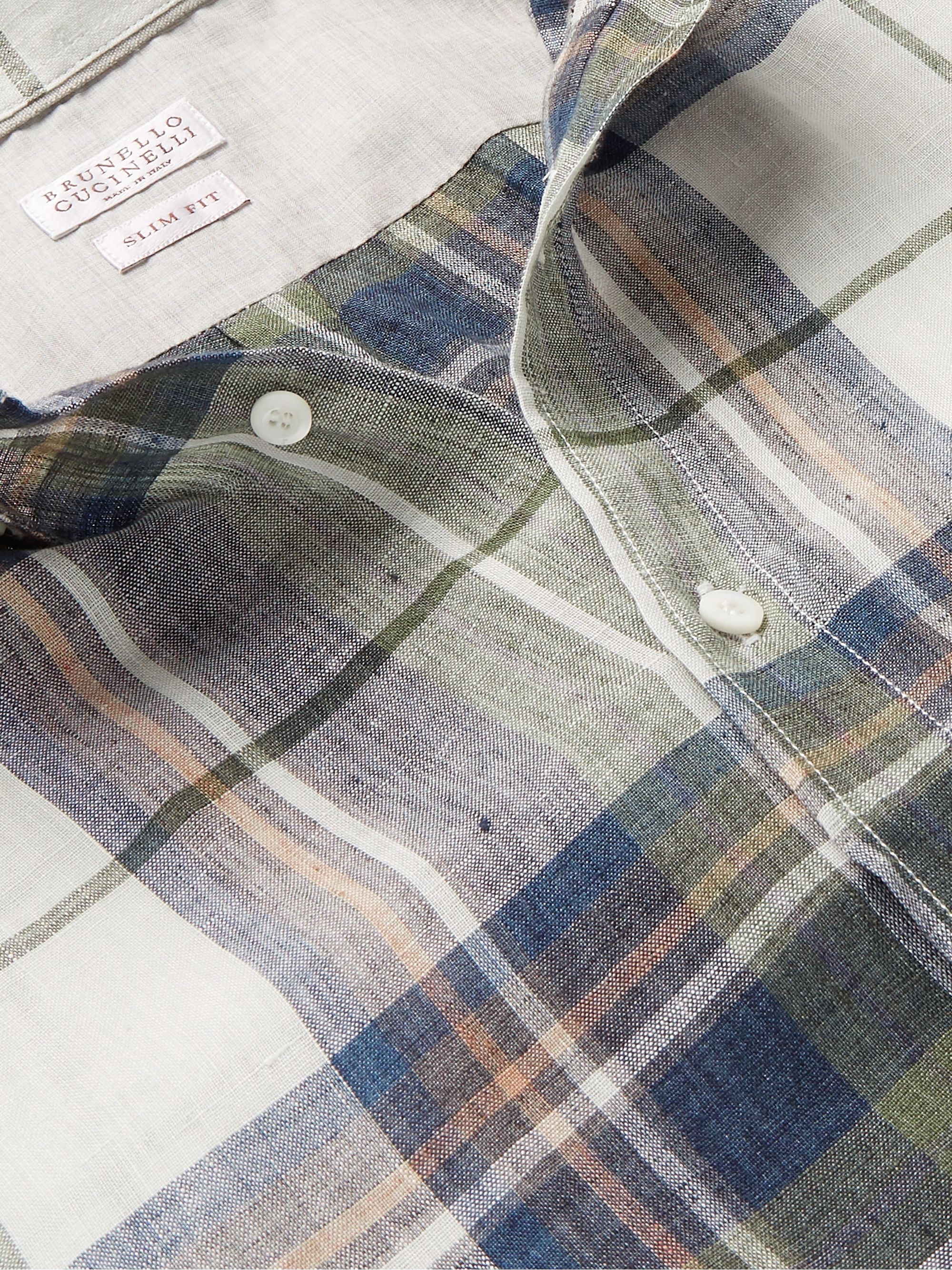 Brunello Cucinelli Button-Down Collar Checked Linen Shirt