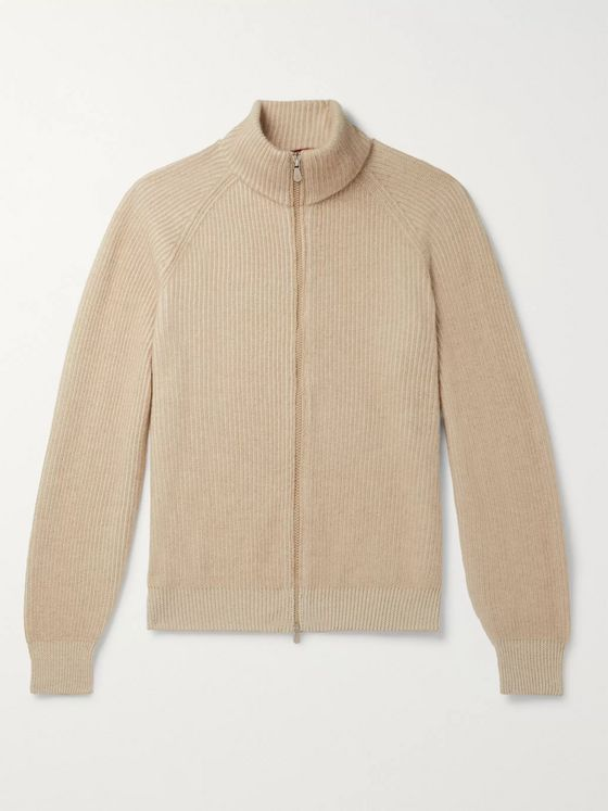 Brunello Cucinelli Slim-Fit Ribbed Mélange Cashmere Zip-Up Sweater