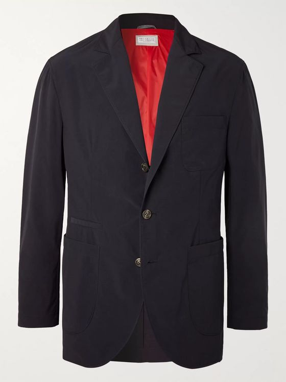 Brunello Cucinelli Midnight-Blue Slim-Fit Shell Blazer