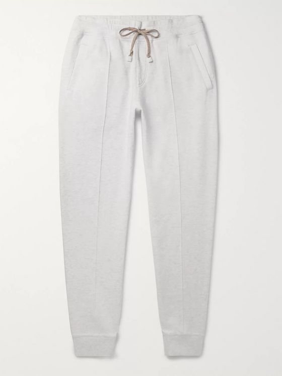 Brunello Cucinelli Tapered Mélange Cotton-Blend Jersey Sweatpants
