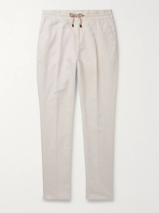 Brunello Cucinelli Tapered Linen and Cotton-Blend Trousers