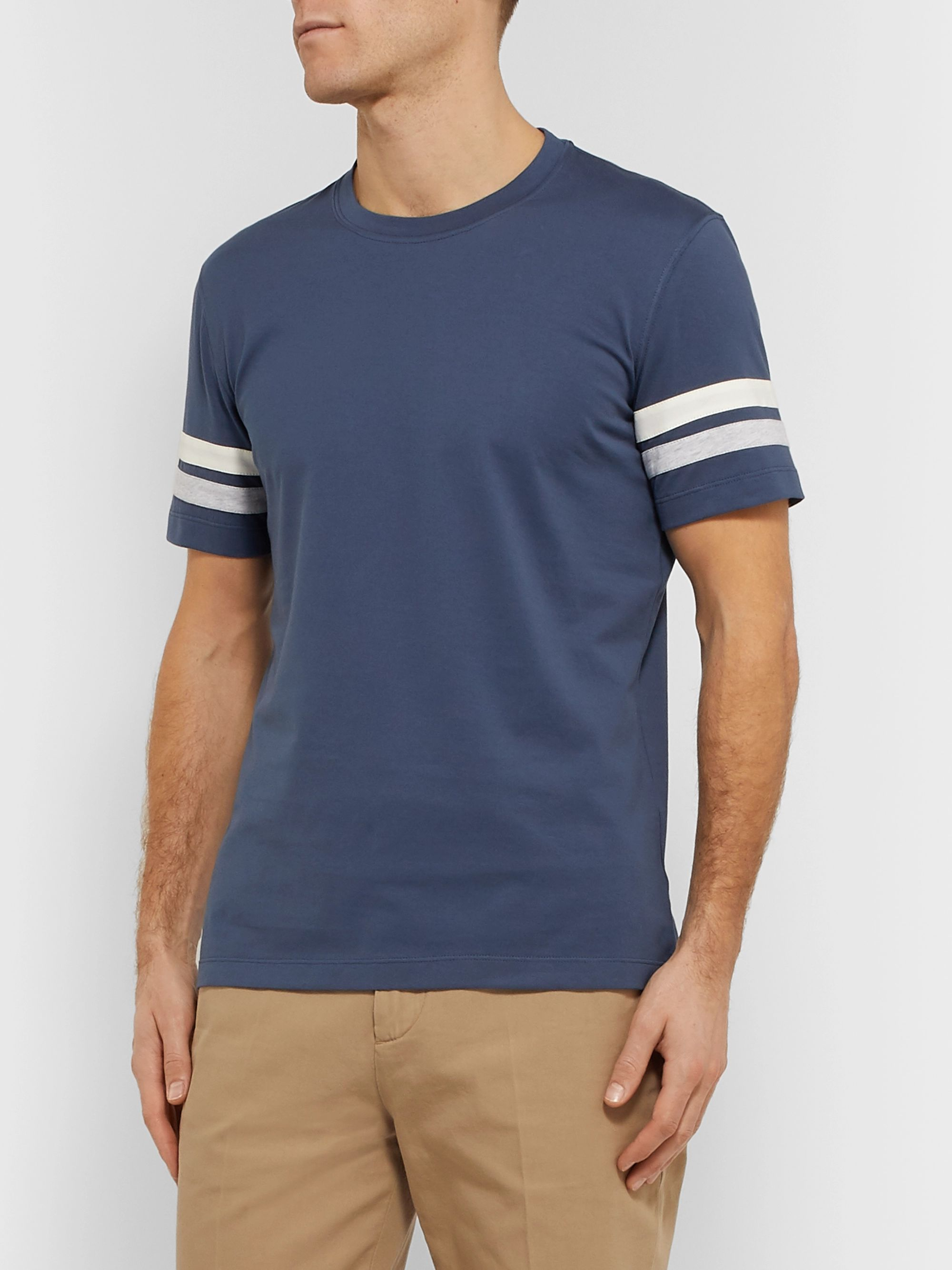 Brunello Cucinelli Striped Mélange Cotton-Jersey T-Shirt