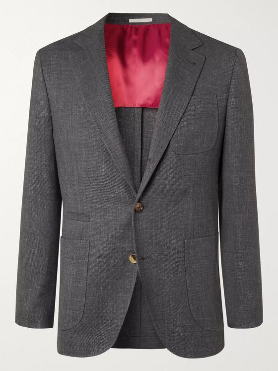 Brunello Cucinelli Dark-Grey Slim-Fit Unstructured Wool, Linen and Silk-Blend Blazer