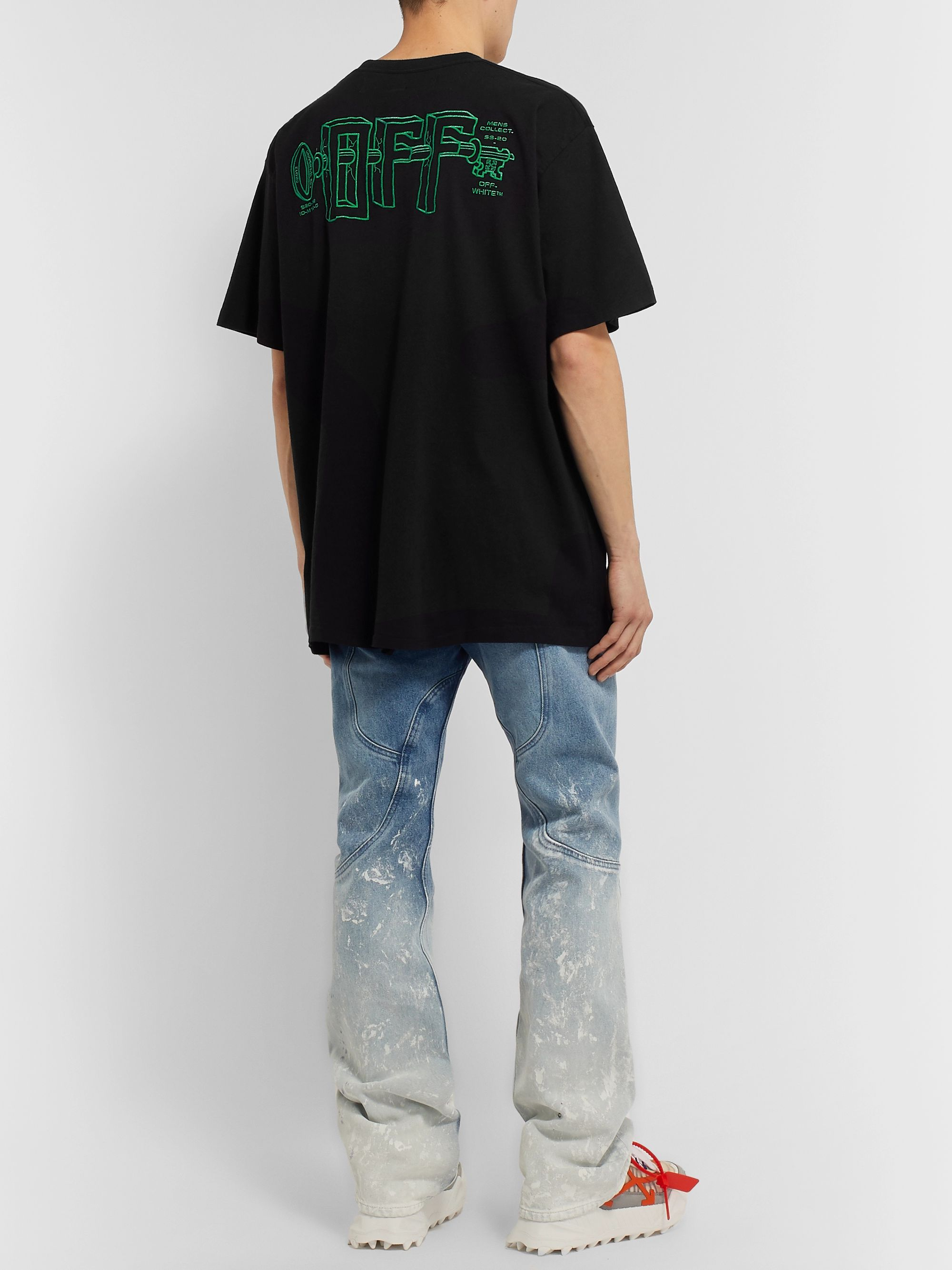 Off-White Oversized Logo-Embroidered Cotton-Jersey T-Shirt