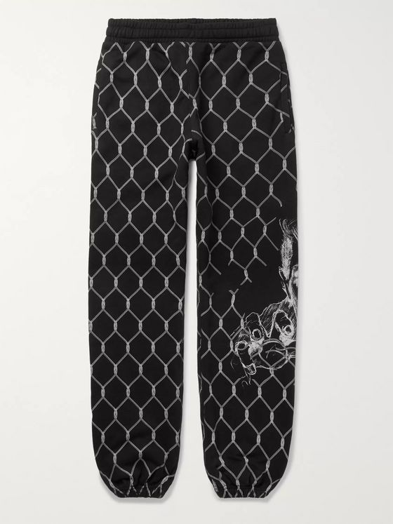 Off-White Slim-Fit Printed Fleece-Back Cotton-Jersey Sweatpants