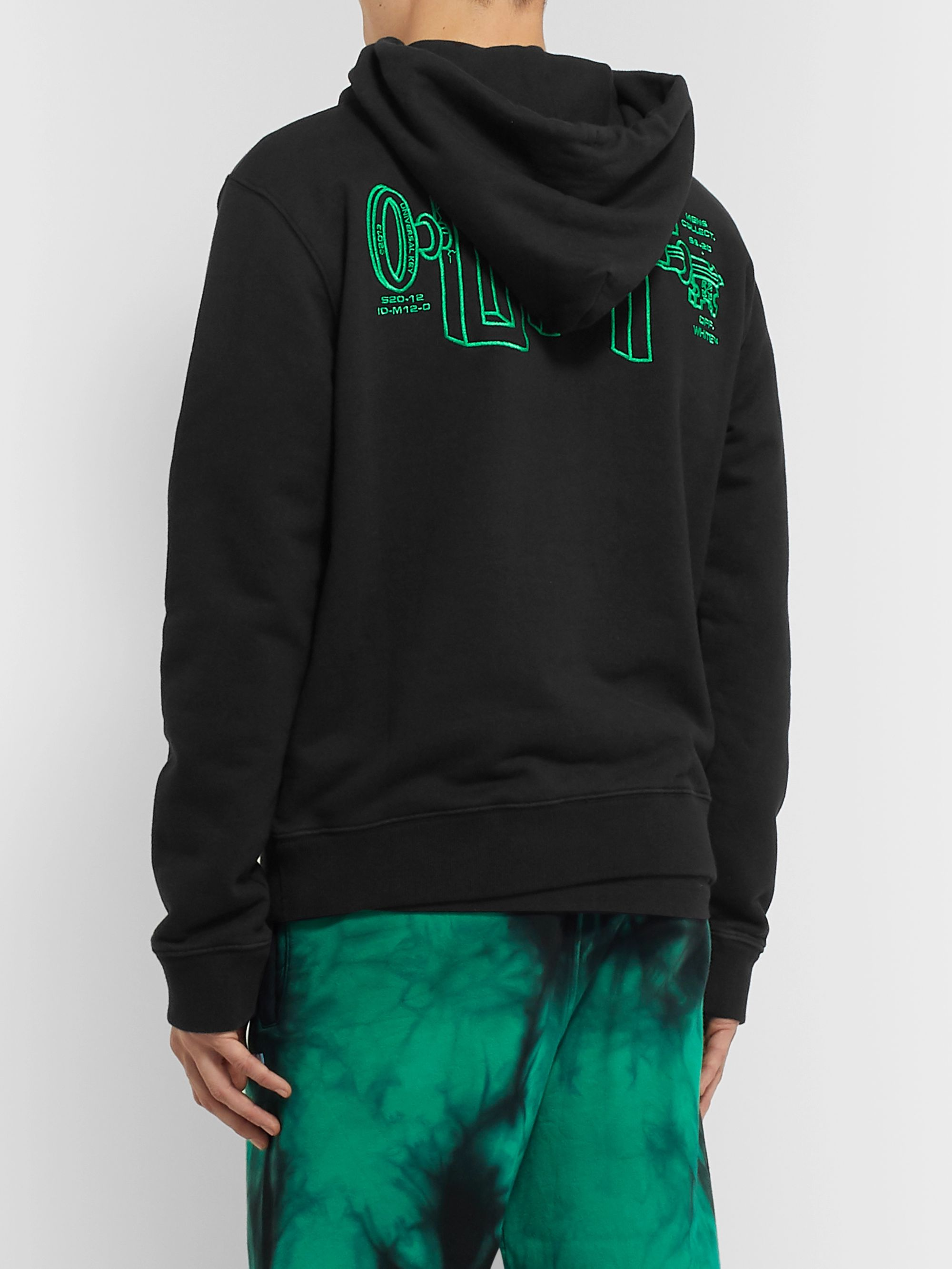 Off-White Logo-Embroidered Loopback Cotton-Jersey Hoodie