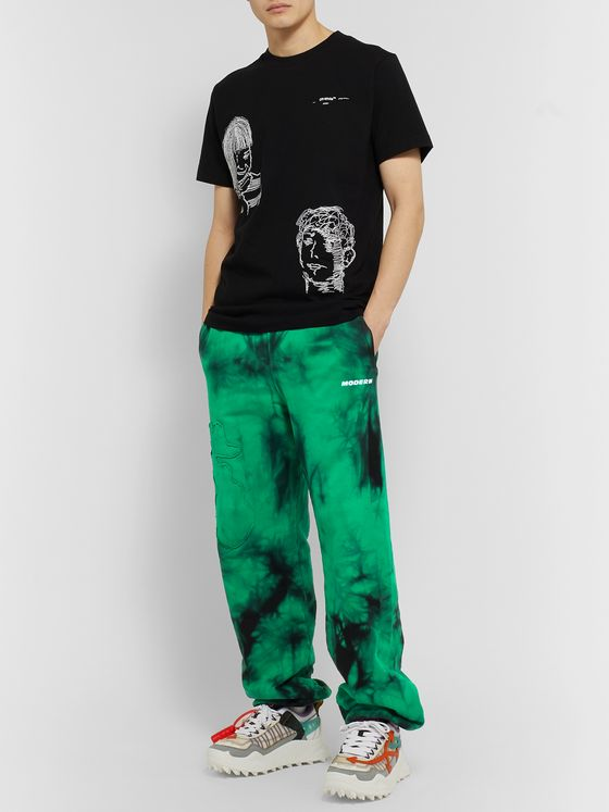 Off-White Wide-Leg Tie-Dyed Loopback Cotton-Jersey Sweatpants