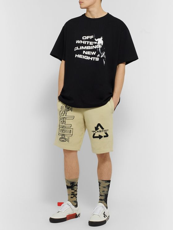 Off-White Logo-Embroidered Loopback Cotton-Jersey Shorts