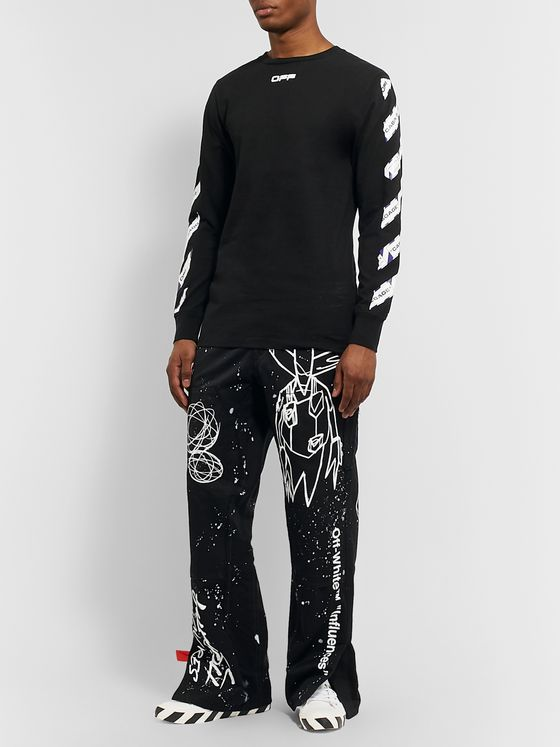 Off-White + Futura Distressed Printed Cotton-Twill Trousers