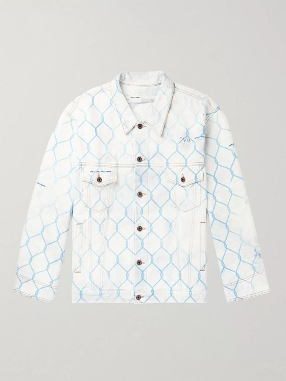 Off-White Oversized Printed Bleached Denim Jacket