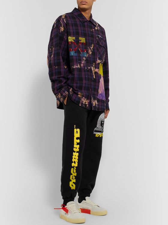 Off-White Slim-Fit Logo-Print Embroidered Loopback Cotton-Jersey Sweatpants