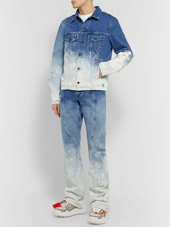 Off-White Slim-Fit Paint-Splattered Dégradé Denim Jacket