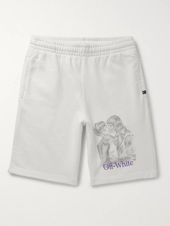 Off-White Printed Fleece-Back Cotton-Jersey Shorts