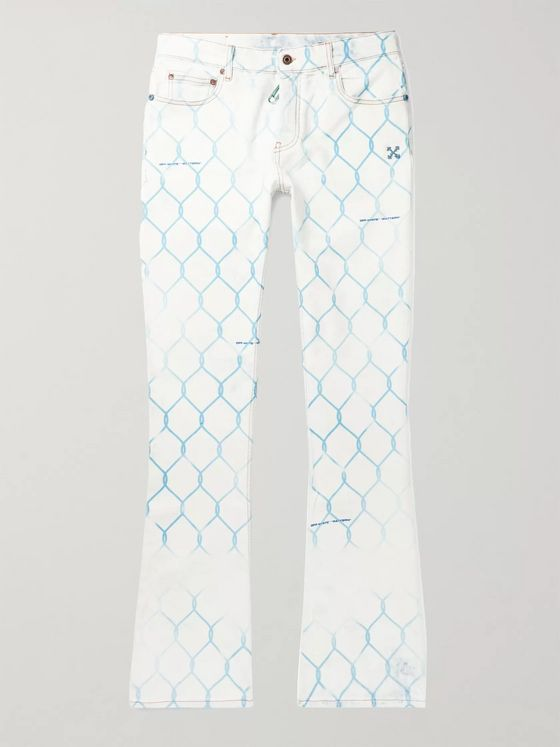 Off-White Slim-Fit Printed Bleached Denim Jeans