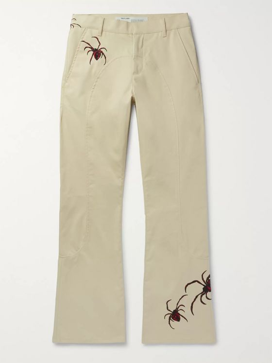 Off-White Slim-Fit Flared Embroidered Cotton-Blend Chinos