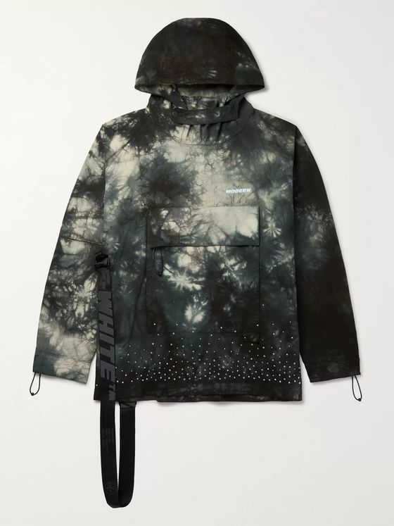 Off-White Packable Embellished Tie-Dyed Cotton-Ripstop Hooded Jacket