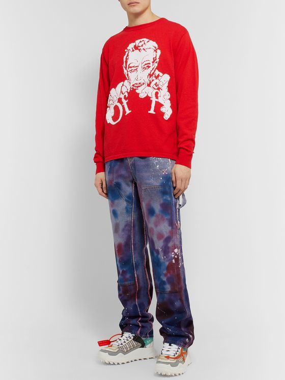 Off-White Wide-Leg Paint-Splattered Tie-Dyed Denim Jeans