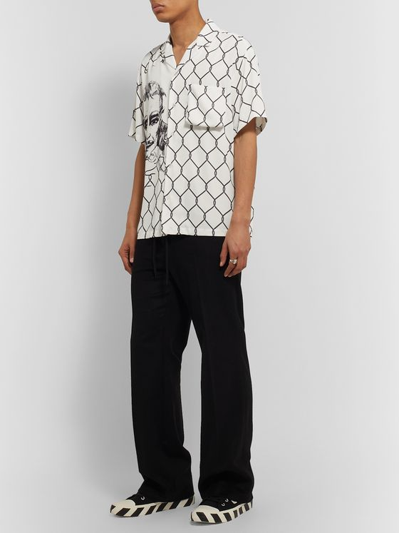 Off-White Camp-Collar Printed Crepe Shirt