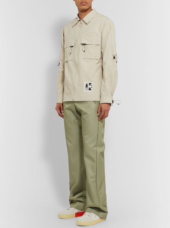 Off-White Slim-Fit Flared Sateen Trousers