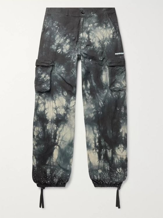 Off-White Embellished Tie-Dyed Cotton-Ripstop Cargo Trousers