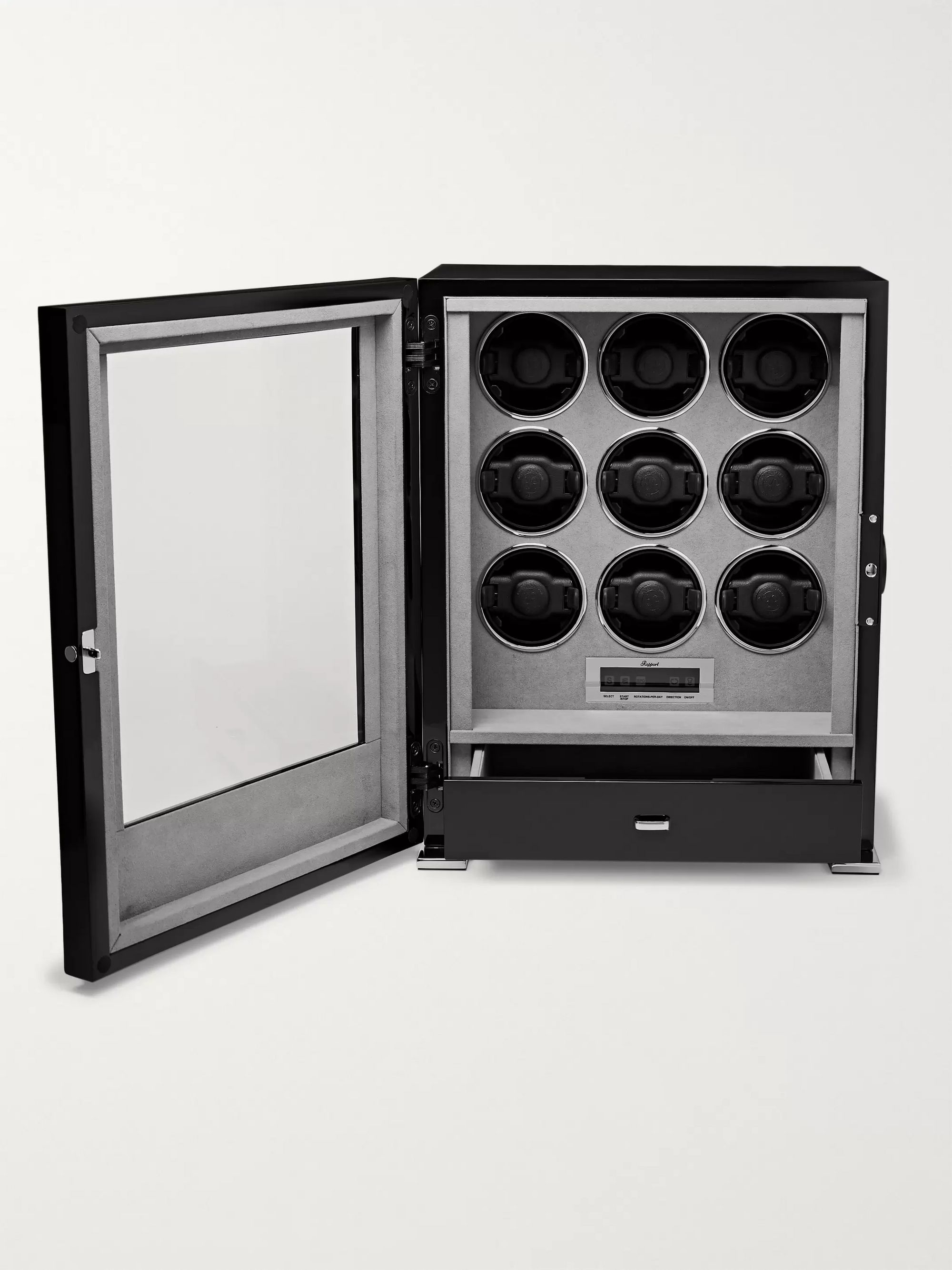 Rapport London Paramount Lacquered Ebony And Glass Watch Winder