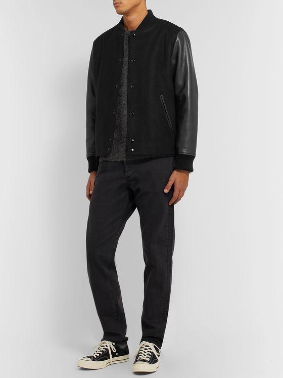 rag & bone Boulder Leather and Wool-Blend Bomber Jacket