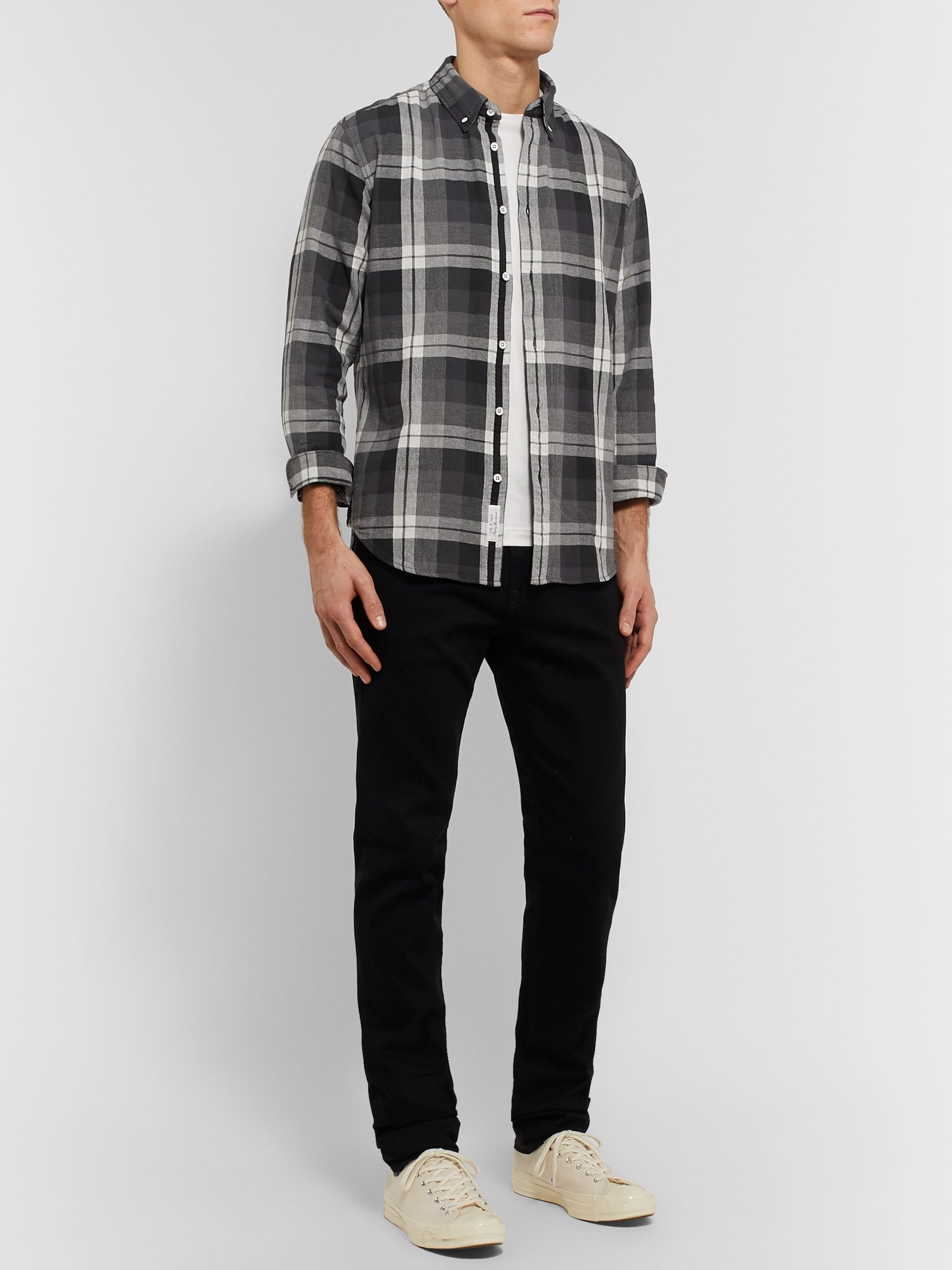 rag & bone Tomlin Fit 2 Button-Down Collar Checked Cotton-Flannel Shirt