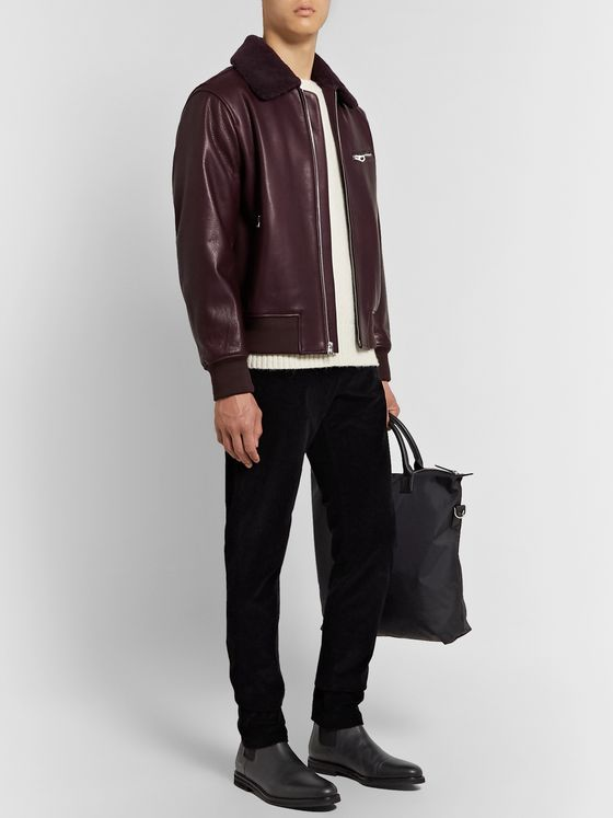 rag & bone Shearling-Trimmed Leather Bomber Jacket